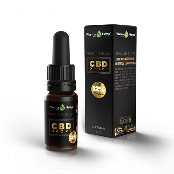 PharmaHemp CBD Premium Black Drops - 12% - 10 ml